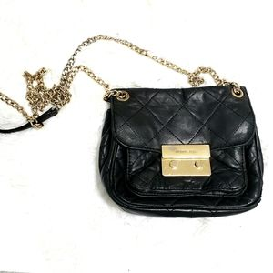 Michael Kors Black Leather Quilted Crossbody Bag